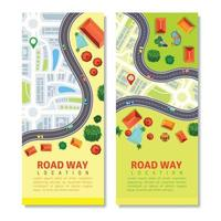 Roadway Map Vertical Banners Vector Illustration