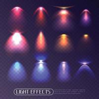 efectos de luz de colores establecen ilustración vectorial vector