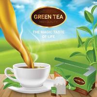 Realistic Tea Leaves Poster Vector Illustration