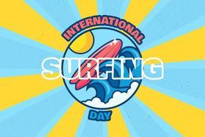 International surfing day banner summer surf event vector