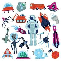Space Icons Set Vector Illustration