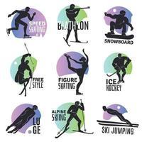 Winter Sports Emblems Set Vector Illustration