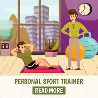 Personal Sport Trainer Background Vector Illustration