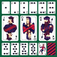 Poker Playing Cards Spade Suit  Set Vector Illustration