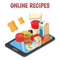 Online Culinary Recipes Isometric Composition Vector Illustration