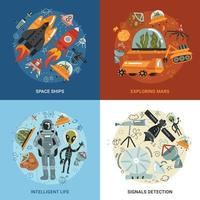 Space Exploration 2x2 Design Concept Vector Illustration