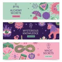 Ilustración de vector de banners horizontales mágicos