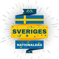National day of Sweden. Independence holiday card vector