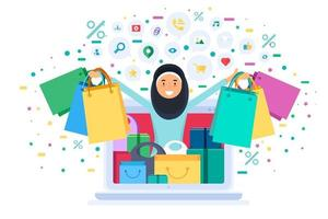 Muslim woman shopping online hold bags from laptop vector