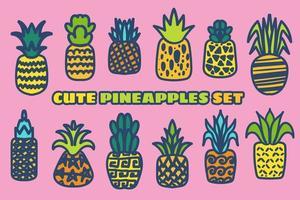 Ripe pineapple hand drawn vector illustrations set