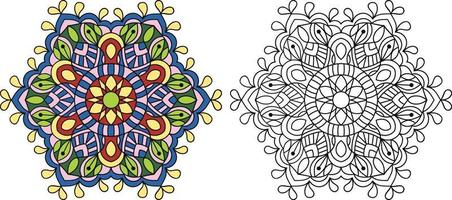 Doodle Mandala coloring book page for adults and children. white and black round decorative. Anti-stress therapy patterns. abstract zen tangle. Vector illustration.