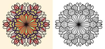 Doodle Mandala coloring book page for adults and children vector