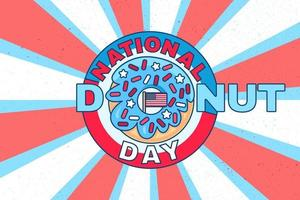 National donut day retro card or background design vector