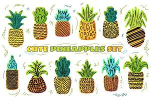 Pineapples vector hand drawn illustration set