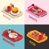 Food Cooking Isometric Concept Vector Illustration