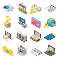 Accounting Isometric Icons Set Vector Illustration