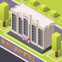 Bank Headquarters Isometric Background Vector Illustration