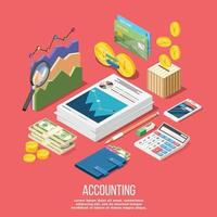 Accounting Elements Conceptual Background Vector Illustration