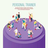 Personal Trainer Isometric Composition Vector Illustration