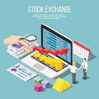 Stock Exchange Isometric Composition Vector Illustration
