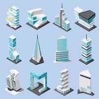 Futuristic Architecture Isometric Set Vector Illustration