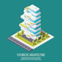Future Architecture Isometric Background Vector Illustration
