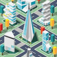 Futuristic Architecture Isometric Background Vector Illustration