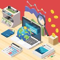 Accountant Workplace Isometric Composition Vector Illustration