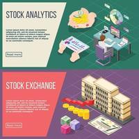 Stock Exchange Isometric Banners Vector Illustration