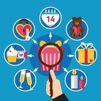 Flat Valentines Day Icon Set Vector Illustration