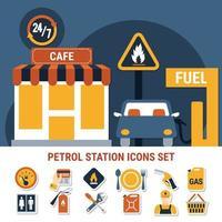 bomba de combustible, icono, conjunto, vector, ilustración vector