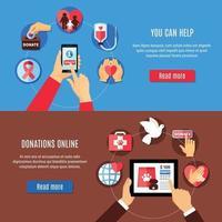 Donate Online Banners Set vector