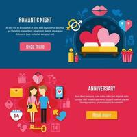 Two Valentines Day Banner Set Vector Illustration