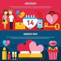 Two Flat Valentines Day Banner Set Vector Illustration