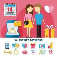 Valentines Day Icon Set Vector Illustration