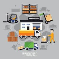 Warehouse Colored Composition Vector Illustration