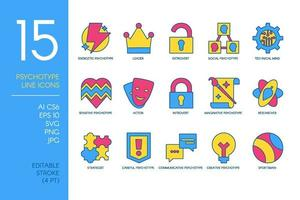 Psychological Type Icon Set of Mental Concept vector