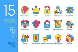 Conjunto de iconos de tipo psicológico de concepto mental vector