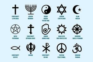 Conjunto de signos religiosos. iconos de la religión y la fe vector
