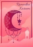 Ramadan kareem poster with crescent moon hanging vector