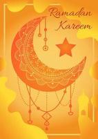 Happy ramadan kareem card with islam mosque moon vector
