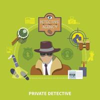 concepto plano detective vector