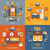 Fuel Pump Concept Set Vector Illustration