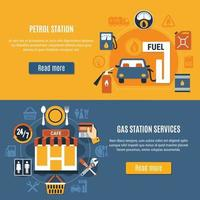 Two Fuel Pump Banner Set Vector Illustration