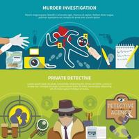 Detective Colored Banner Set vector