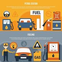 Fuel Pump Flyer Set Vector Illustration