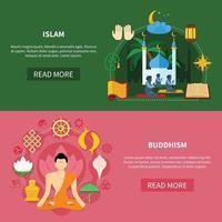 conjunto de banner plano de religiones vector