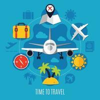 Air travel Flat Advertisement Poster vector