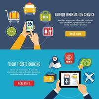 Airport Online Service Flat Banners vector