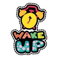 Wake up dash line sticker vector